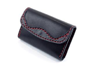 名刺/カードケース ブラック(縫い糸レッド)