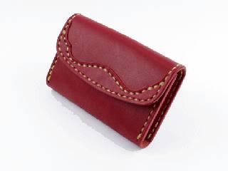 名刺/カードケース ダークレッド(縫い糸ナチュラル)