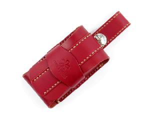 携帯ケース(ガラケー用) ダークレッド(縫い糸ナチュラル)