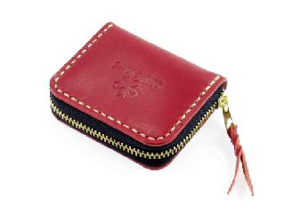ミニコインパース ダークレッド(縫い糸ナチュラル)