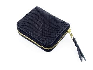 ミニコインパース オールブラックパイソン(内側ブラック)(縫い糸ブラック)