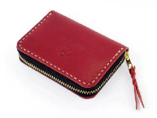 スモールコインパース ダークレッド (縫い糸ナチュラル)