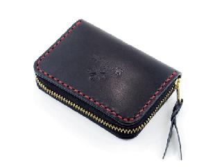 スモールコインパース ブラック(内側ダークレッド) (縫い糸レッド)