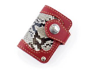 スライドカードケース ダークレッド インレイパイソン仕様(縫い糸ナチュラル)