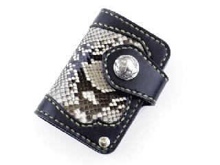 スライドカードケース ブラック インレイパイソン仕様(縫い糸ナチュラル)