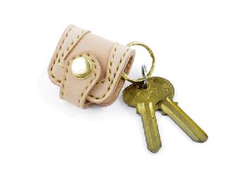 ウォレットキーホルダー オーバーレイ仕様 ナチュラル(縫い糸ナチュラル)真鍮金具