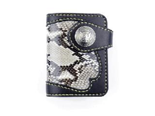 ショートウォレット ブラック インレイパイソン仕様(縫い糸ナチュラル)栃木レザー