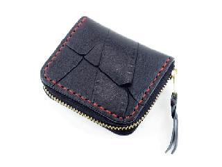 ミニコインパース アキャブ ブラック(縫い糸レッド)