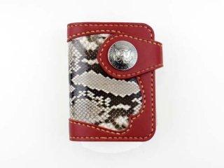 ショートウォレット ダークレッド インレイパイソン仕様(縫い糸ナチュラル)栃木レザー