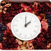 花の時計・ボルドーワイン