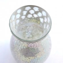 モザイクガラス花器・ホワイトシルバー(10φ×20H)