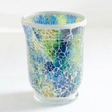 モザイクガラス花器・ディープブルー(11.5φ×15H)