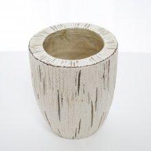 ケラミック花器クリーム・陶器(h19.5xφ16.5cm)