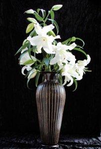 ブラス花器・真鍮製花器(h50xφ17cm)