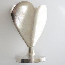 ハート形花器・アルミニウム製(h30xφ16.5cm)
