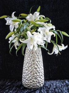 ケラミック花器・クリームパール加工L(h41xφ15-22cm )