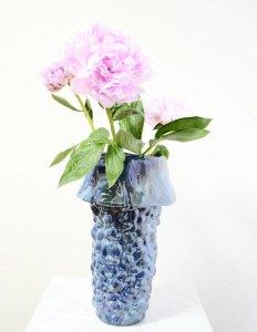 ケラミック花器・パールブルーL(h38cm φ11.5〜25cm)