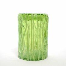 ガラス花器・アップルグリーン(h17cm 口径:φ12cm )
