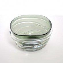 ガラス花器・グレイ (h13x23x20)