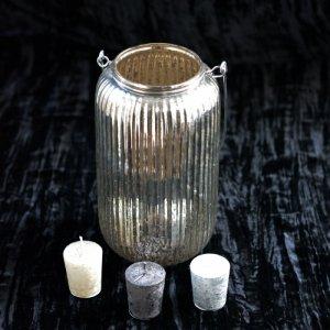 ハンギングキャンドルグラス花器・シルバー (h23(40)xφ13-9)