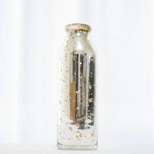 アンティーク調シルバー ボトル・ガラス器 (φ8-5.5xh25cm)
