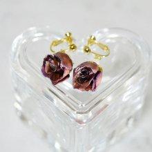薔薇の蕾イヤリング・パープル(紫)
