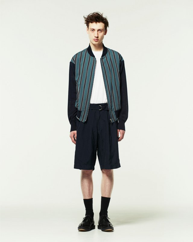 knit combination stripe blouson