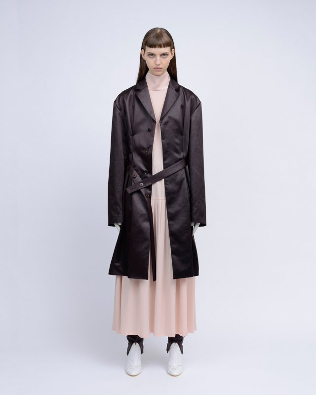 chintz satin tuck coat