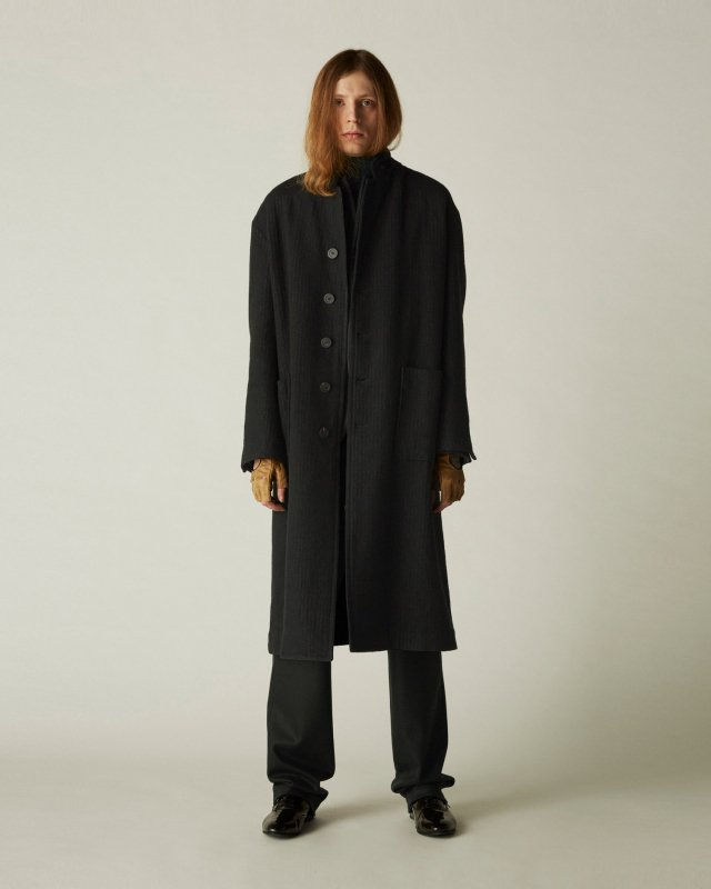shrink wool pinstripe coat