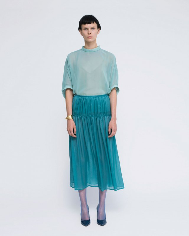 cupra crepe gather skirt