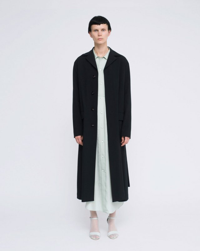 cotton crepe weave long slit coat