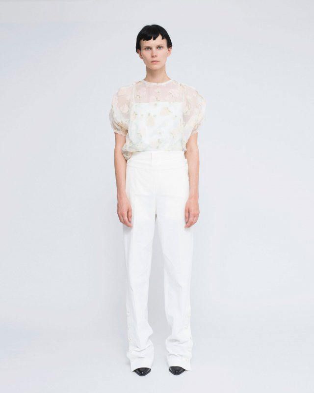 flower cut jacquard top