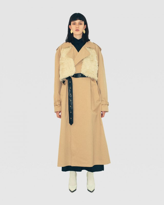 Eco-Fur Trimmed Trench Coat