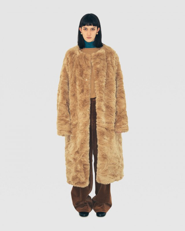 Eco-Fur Wrapover Coat