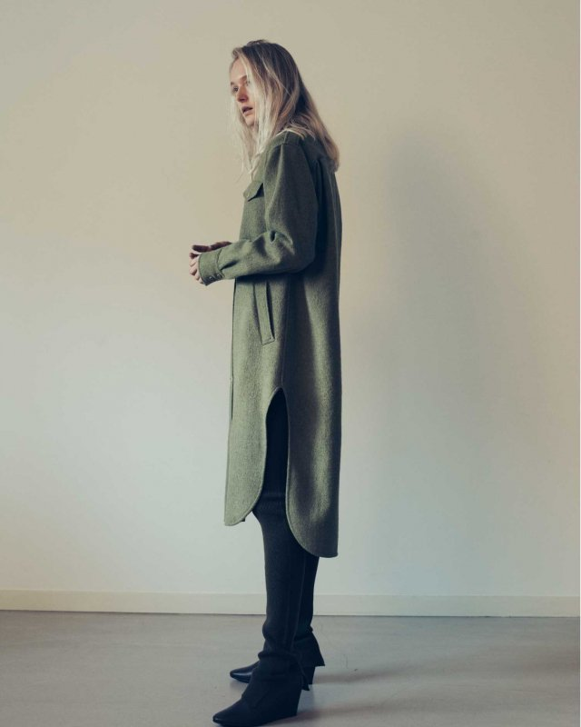 Wool hard milled cpo shirt dress
