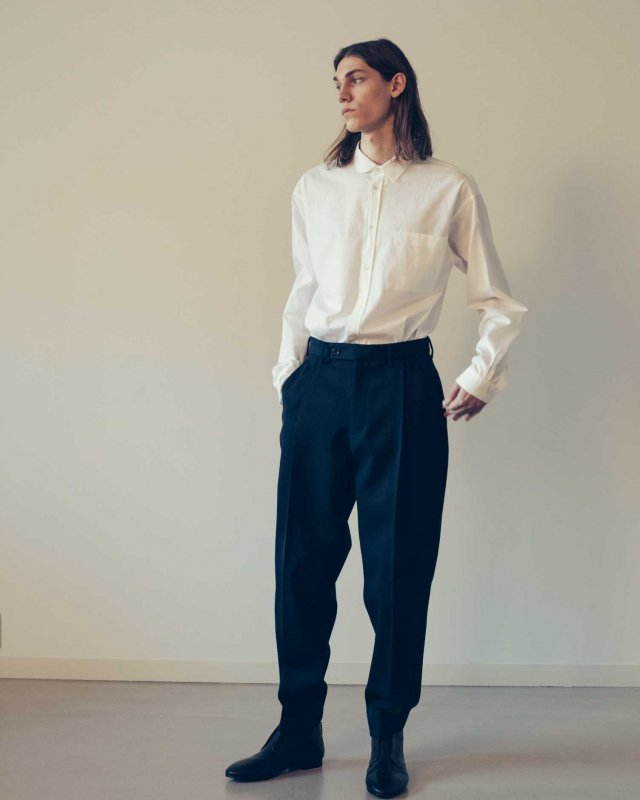 Cotton broad asymmetric shirt
