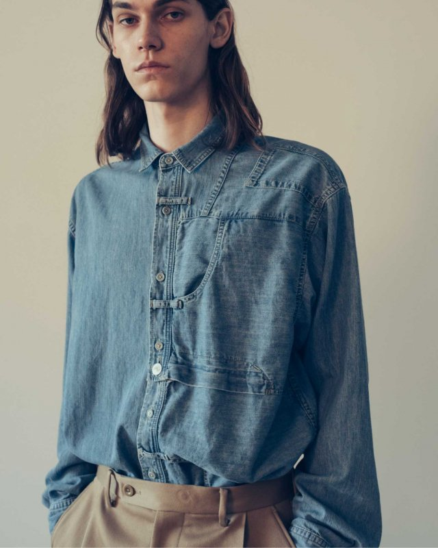 5.5oz bleach denim remake shirt