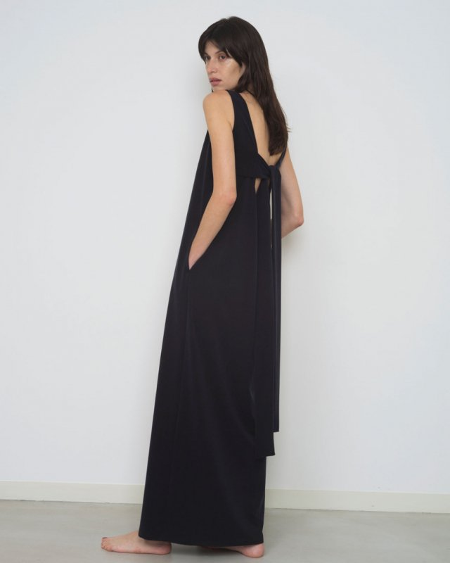 Suede cupra back cut maxi dress