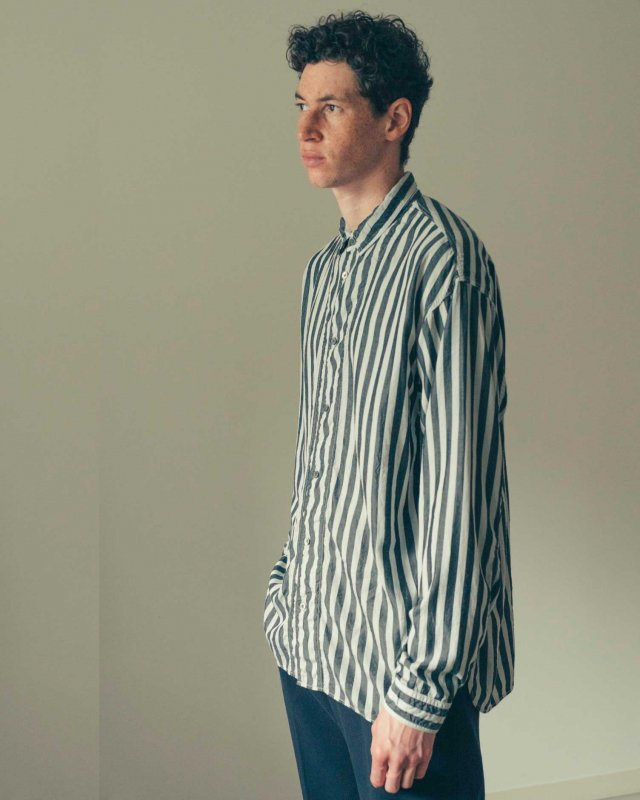 Wide stripe garment dyed shirt