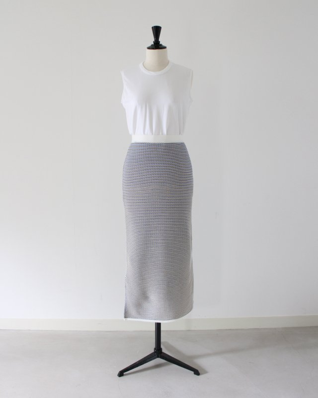 Cotton border jacquard knit skirt