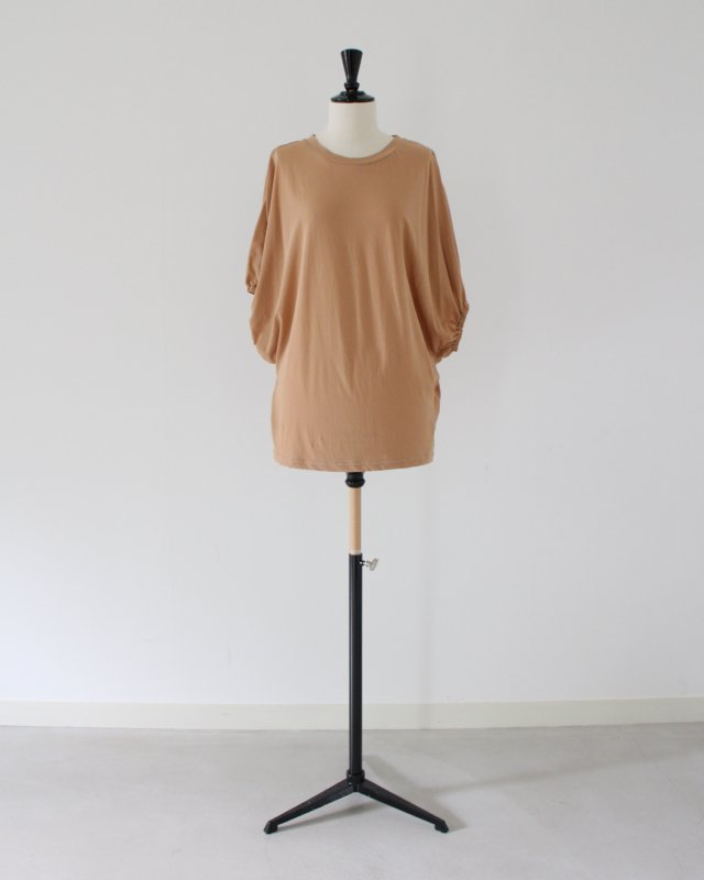 Cross jersey gather sleeve top