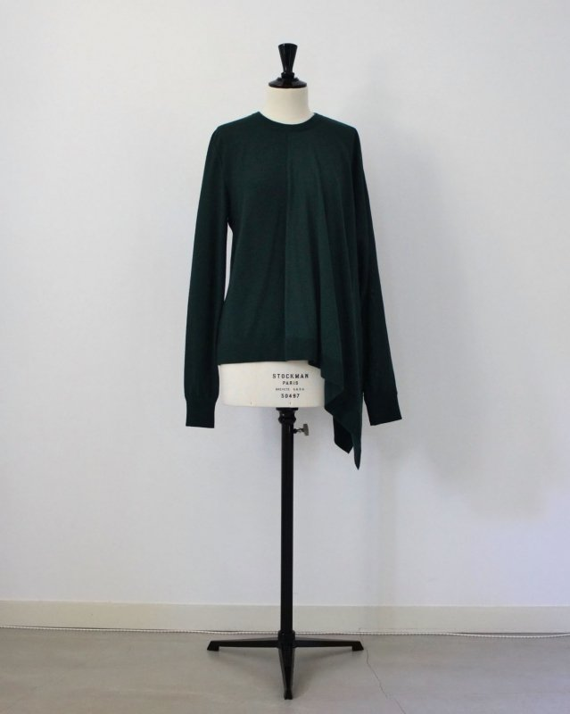 Asymmetry crew neck drape knit