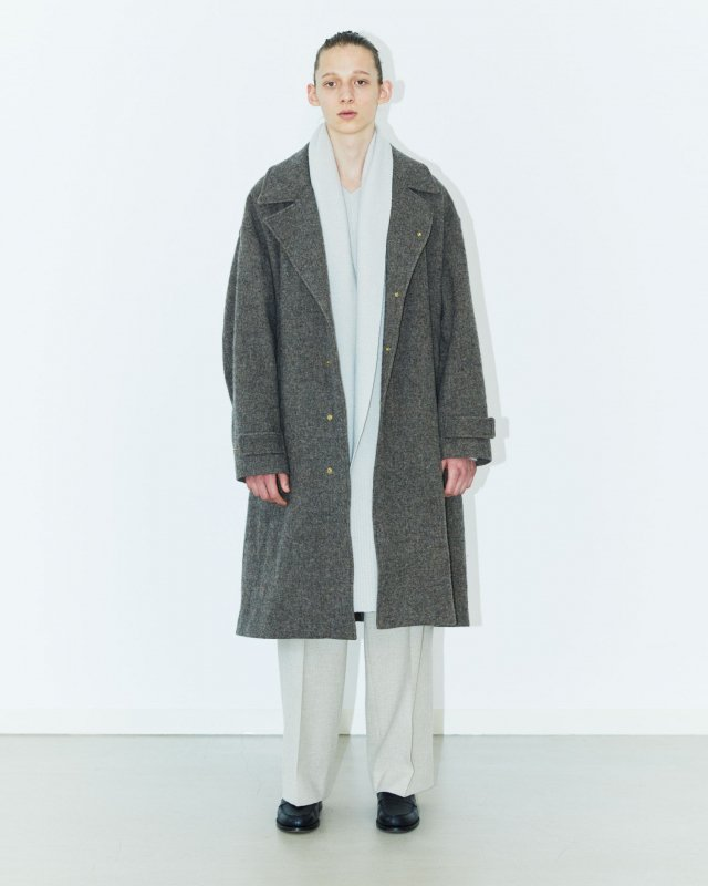 Wool fulling herringbone coat