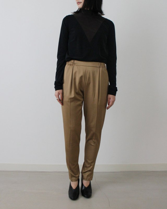 Wool satin stretch slit pants