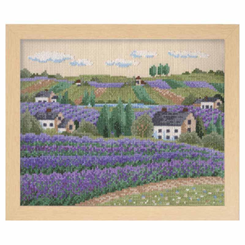 クロスステッチ フラワーガーデン「花の咲く風景」 (ラベンダー畑)