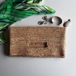 手編み製図 くりぬきハンドルクラッチバッグ