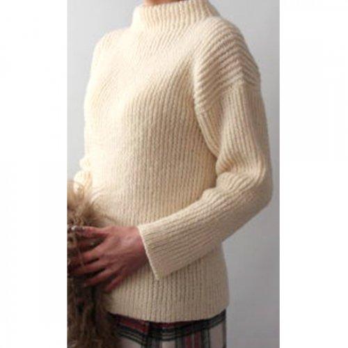 手編み製図 ボトルネックセーター