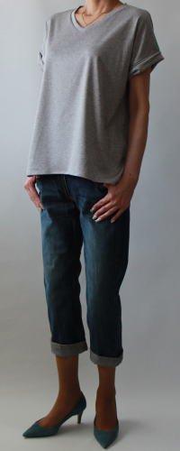 VネックツイストカフスTシャツ【582】