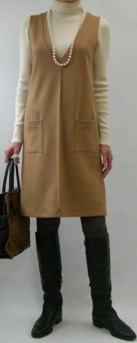 ニットV開きジャンパースカート
