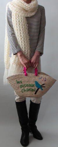 手編み製図 ビッグローゲージモヘアマフラー